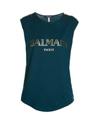 Balmain Logo Print Tank Top Dark Green