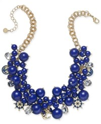 Charter Club Gold Tone Crystal And Bead Statement Necklace 17 2 Extender Created For Macy's