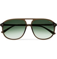 Bottega Veneta Aviator Style Acetate Sunglasses Brown