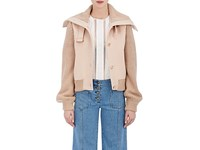 Chloe Women's Stretch Wool Twill And Knit Jacket Pink Nude