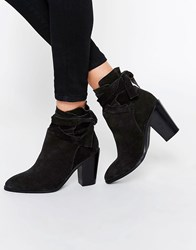 Asos Elishia Suede Slouch Ankle Boots Black Suede