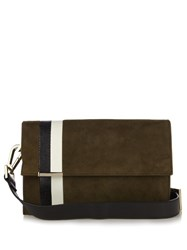 Tomasini Ayrton Striped Suede Shoulder Bag Khaki Multi