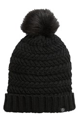 Treasure And Bond Cable Knit Beanie With Faux Fur Pom Black