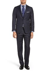 Hickey Freeman Men's Big And Tall Classic Fit Check Wool Suit Navy