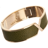Valextra Leather 'X' Cuff Dk. Green