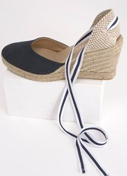 Mint Velvet Erin Navy Espadrille Wedge Dark Blue