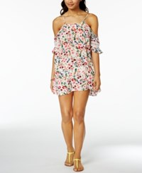 Jessica Simpson Garden Party Printed Off The Shoulder Cover Up Women's Swimsuit White Multi