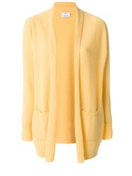 Allude Long Ribbed Cardigan Cashmere S Yellow Orange