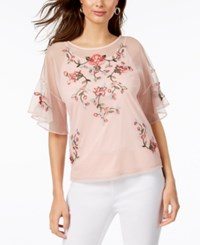 Thalia Sodi Embroidered Mesh Top Created For Macy's Sweet Pearl