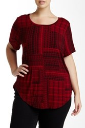 Dex Printed Hi Lo Tee Plus Size Red