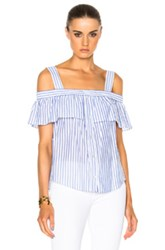 Veronica Beard Lacey Cold Shoulder Top In White Blue Stripes White Blue Stripes