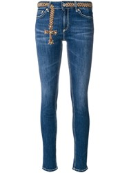 Dondup Embroidered Cross Skinny Jeans Cotton Polyester Spandex Elastane Blue