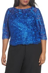 Alex Evenings Plus Size Embroidered Blouse Royal