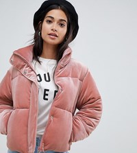 Asos Design Petite Ultimate Puffer In Velvet With Funnel Neck Pink