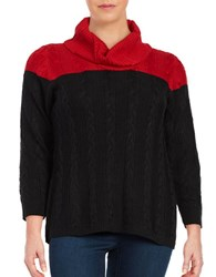 Calvin Klein Plus Colorblocked Cowlneck Sweater Red
