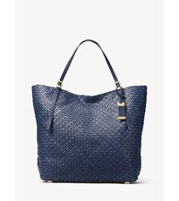 Hutton Large Woven Leather Tote Maritime