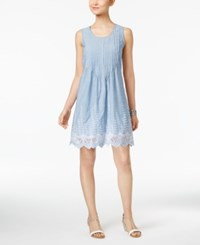 Style And Co Petite Cotton Eyelet Hem Fit Flare Dress Only At Macy's Chambray Eyelet Blue
