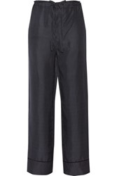Rag And Bone Gabrielle Polka Dot Silk Twill Wide Leg Pants Midnight Blue