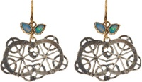 Judy Geib Opal Gold And Oxidized Silver Kaleidoscope Earrings