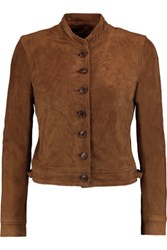 J Brand Marquita Cropped Suede Jacket Brown