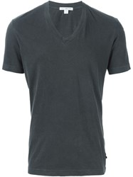 James Perse V Neck T Shirt Grey