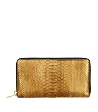Tom Ford Python Zip Around Wallet Gold