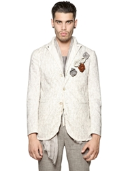 John Varvatos Printed Linen And Cotton Canvas Jacket White