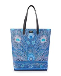 Liberty London Hera Peacock Canvas Tote Bag Blue Pattern