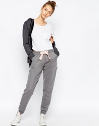Asos Knitted Jogger With Velvet Bow Grey