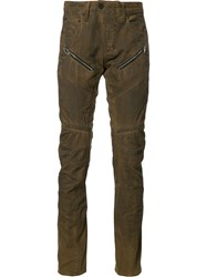 Prps Zip Detail Biker Jeans Brown