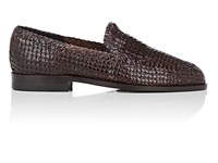 Barneys New York Woven Leather Loafers Dk.Brown