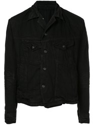 Julius Asymmetric Denim Jacket Black