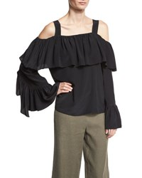 Robert Rodriguez Cold Shoulder Silk Ruffle Top Black