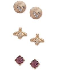 Lonna And Lilly Gold Tone 3 Pc. Set Multi Stone Stud Earrings