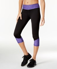 Ideology Colorblocked Performance Capri Leggings Only At Macy's Blazing Purple