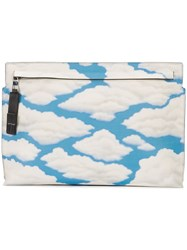 Loewe Cloud Print Clutch Women Leather One Size Blue