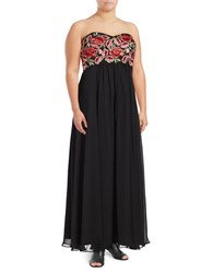 Decode 1.8 Embroidered Floral Gown Black Red