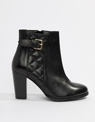 c86235d010 Faith Brooksie Leather Quilted Heeled Ankle Boots In Black Black Leather