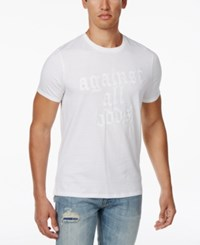Guess Men's Against All Odds Graphic Print Cotton T Shirt True White