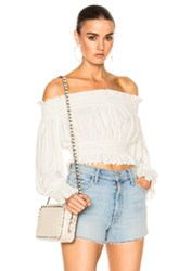 Norma Kamali Cropped Peasant Top In White