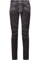 Balmain Pierre Cotton Blend Corduroy Skinny Pants Dark Gray