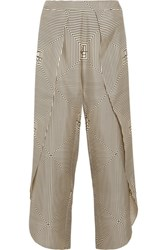 Toteme Toulon Printed Silk Twill Wide Leg Pants Cream