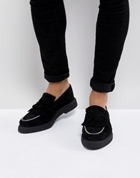 Asos Creeper Loafers In Black Suede With Zip Detail Black