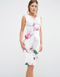 Ted Baker Aviah Bodycon Dress In Pink Magnolia Print 57 Nude Pink
