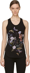 Alexander Mcqueen Black Flowers And Moths Embroidered Tank Top