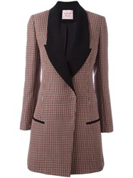 Lanvin Houndstooth Patterned Coat Pink And Purple