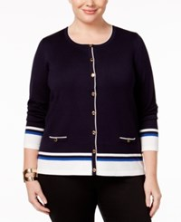 Karen Scott Plus Size Colorblocked Cardigan Only At Macy's Rich Navy Combo