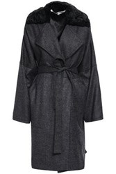 Mcq By Alexander Mcqueen Woman Belted Faux Fur Trimmed Printed Wool Coat Dark Gray