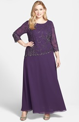 J Kara Beaded Mock Two Piece Gown Plus Plum Shaded Mercury
