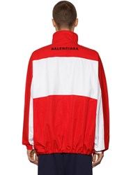 Balenciaga Zip Up Cotton Poplin Jacket Red